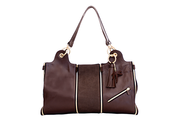 sac cuir chocolat  nubuck poche zip grand modele face
